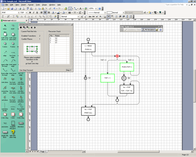 stencils example consistency checker example petri net simulator example - Download Visio Templates